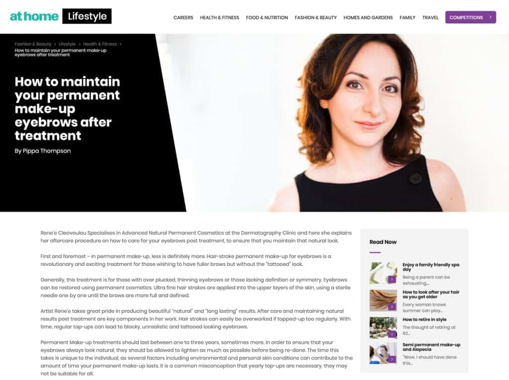 At Home Permanent Eyebrows Press Article